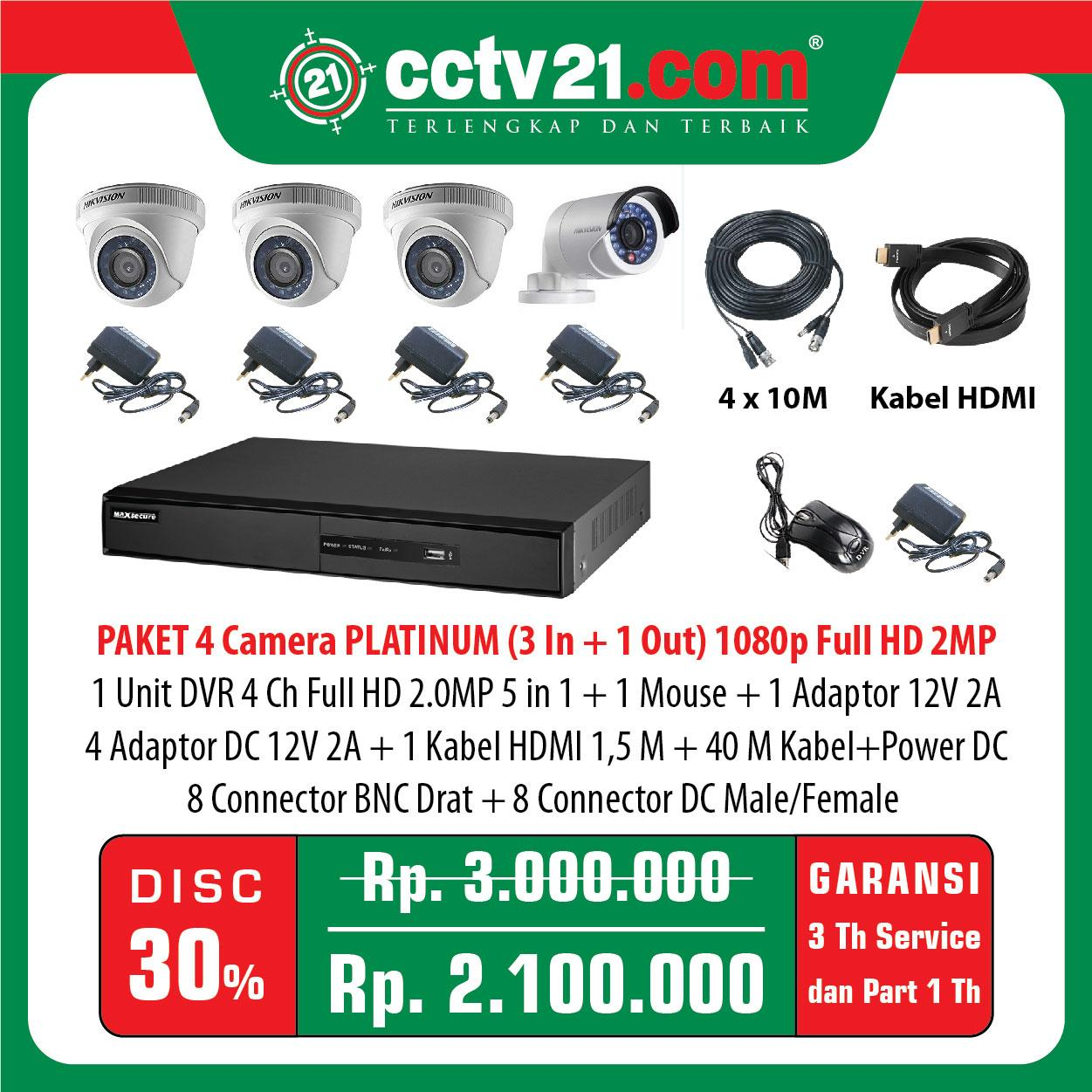 Promo:Paket Lengkap 4 CCTV PLATINUM Full HD 2MP (Made in Korea) (Tinggal Pasang)