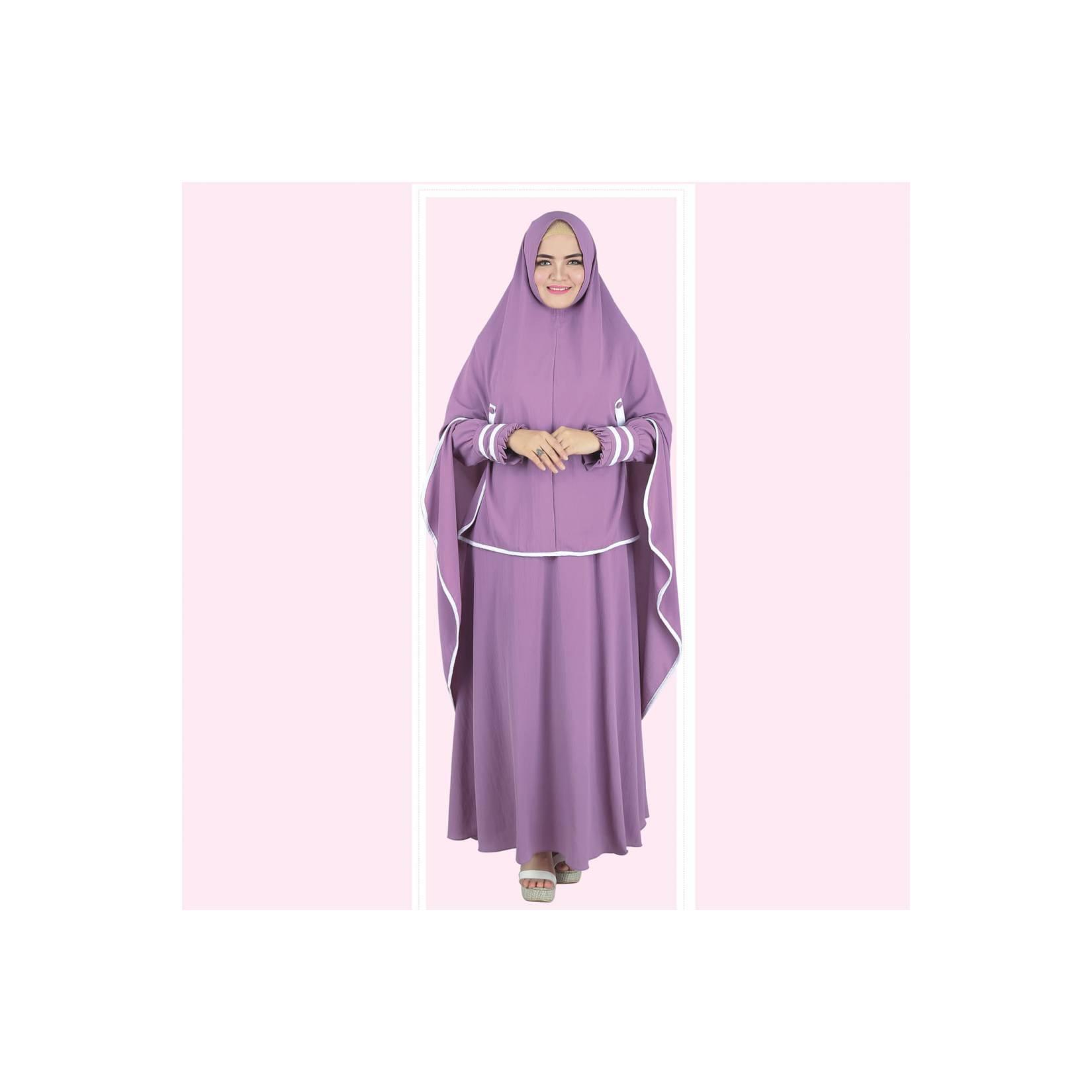 Baju Busana Muslim Gamis Pakistan Setelan Dress Casual Wanita Ungu