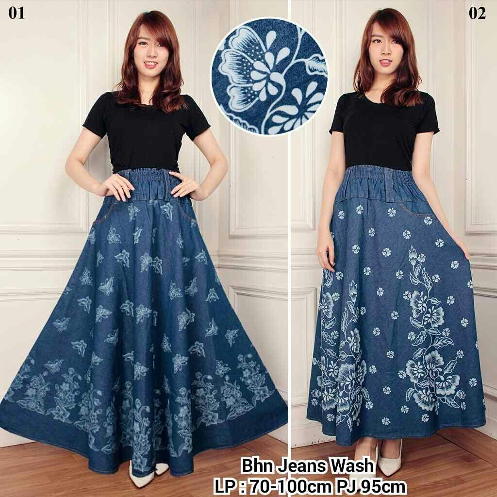 Cj collection Rok jeans maxi payung panjang wanita jumbo long skirt Evita - 01