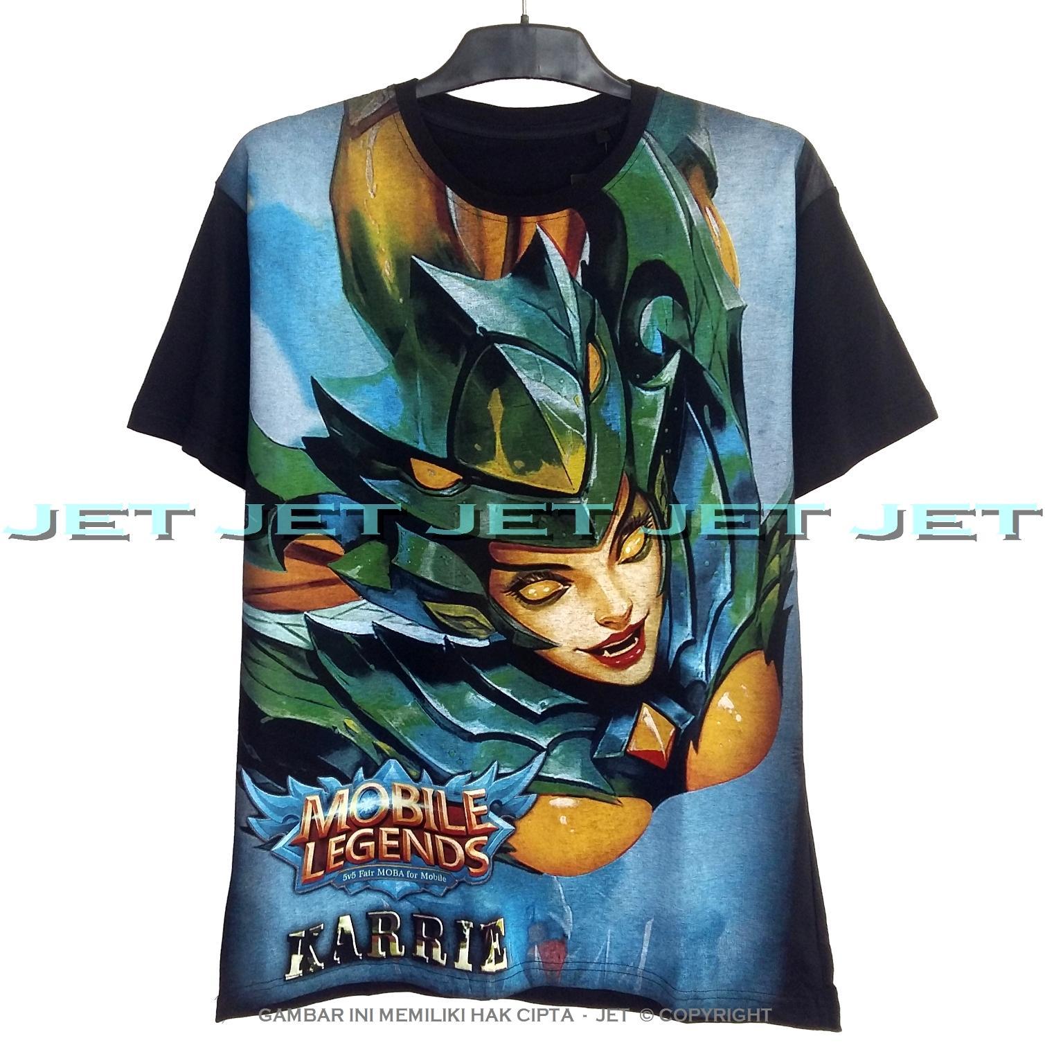 JeT - Black T-Shirt Premium Cotton Combed Karrie Bladed Mantis Mobile Legends Skin