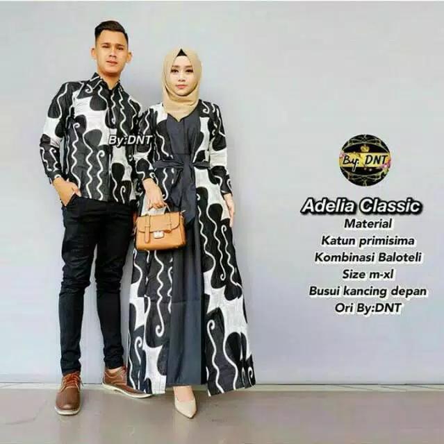 Batik Couple / Couple Batik / Baju Muslim Wanita Terbaru 2018 / Gamis Wanita Terbaru / Batik Sarimbit Adelia Classic