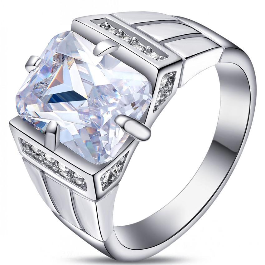 2.2ct Baru Fashion Perhiasan Putih/ZIRCON BATU Platinum Disepuh Wedding Ring Hadiah Ukuran 7 untuk 15 # GQ030- INTL