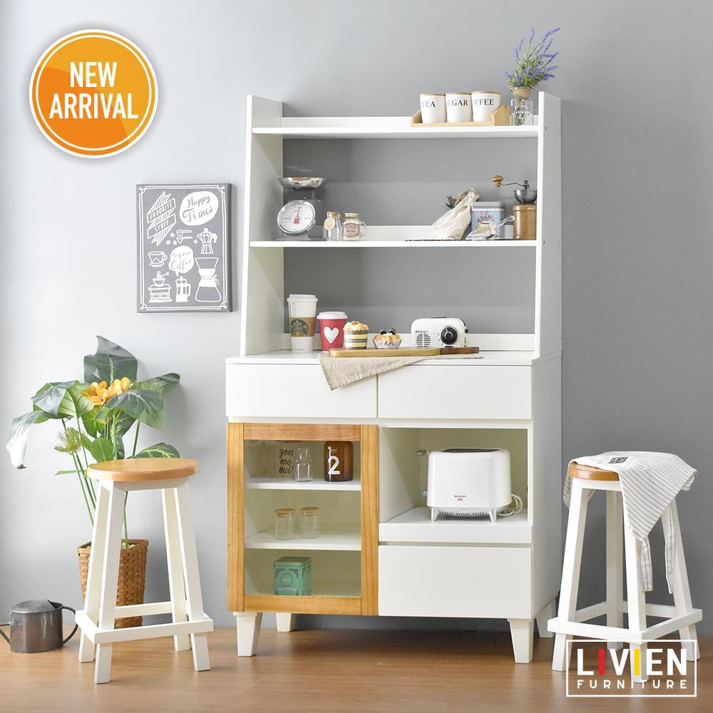 LIVIEN Furniture - Lemari Meja Dapur Set - Rak Dapur White
