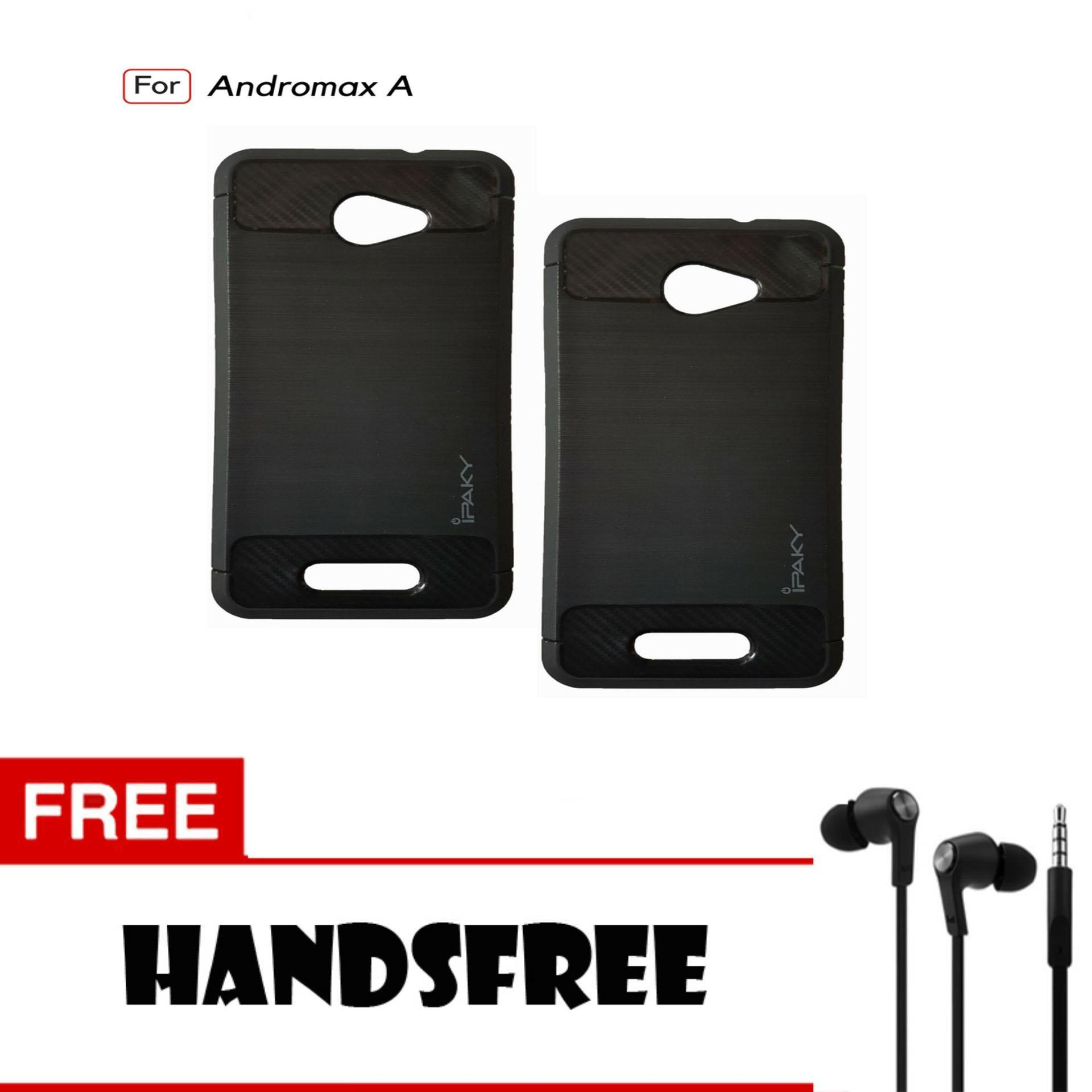 Kenzoe Premium Quality Carbon Shockproof Hybrid Case For Andromax A - Black FREE Handsfree