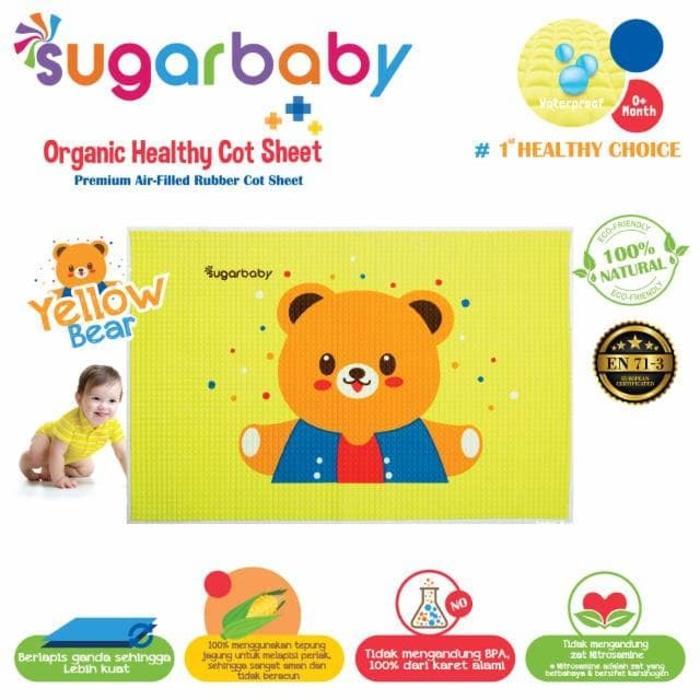 Sugar Baby Perlak Karet Healthy Organic Cot Sheet - Yellow Bear