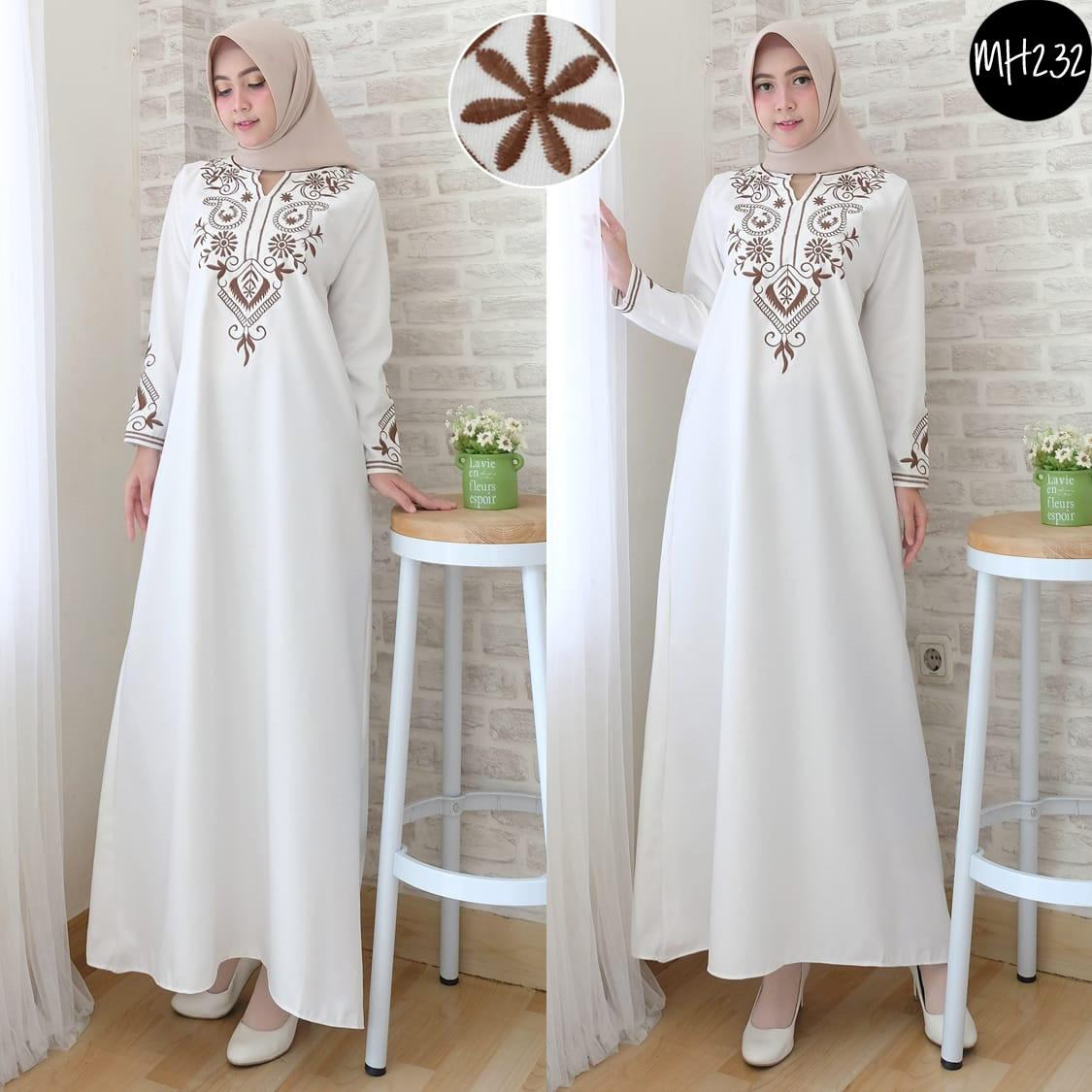 MH232 maxi dress panjang gamis putih fashion muslim hijab hijaber baju muslim muslimah wanita gamis syari balotelli jumbo katun jepang murah