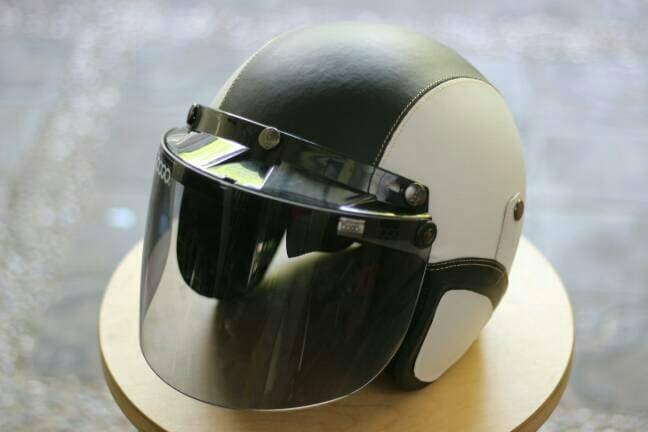 Helm Bogo FLAT - Helm Kulit Kaca Bogo Original (Bukan KW) -Putih Hitam