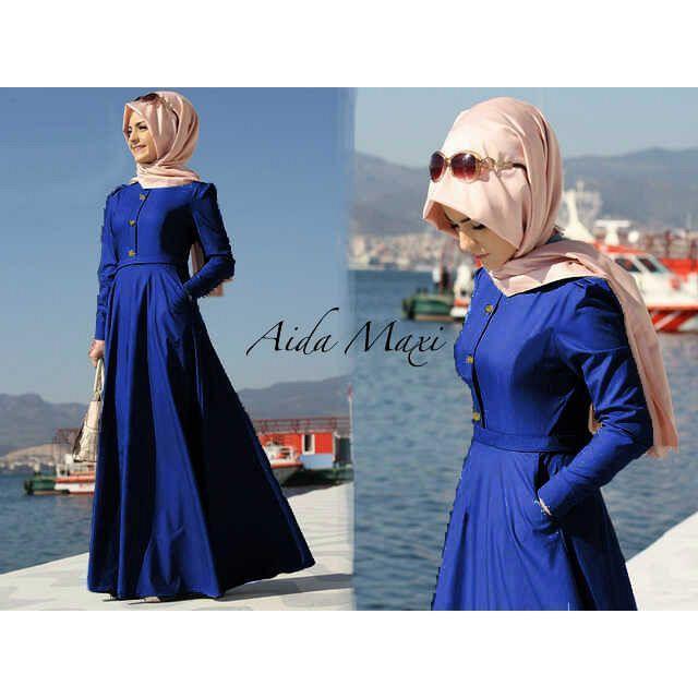 Baju Muslim, Baju Lebaran, Dress Maxi AIDA, baju gamis (Denim)
