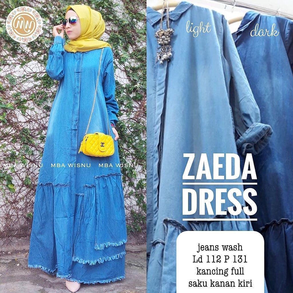 Baju Murah Terbaru Gamis Zaeda Dress Jeans Baju Wanita Gamis Baju Terusan Panjang Baju Kerja Gaun Pesta Murah Remaja Baju Muslim Terbaru 2018
