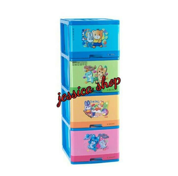Promo  Lemari Plastik Lion Star / Container Laci Excel L4 Susun 4  Original