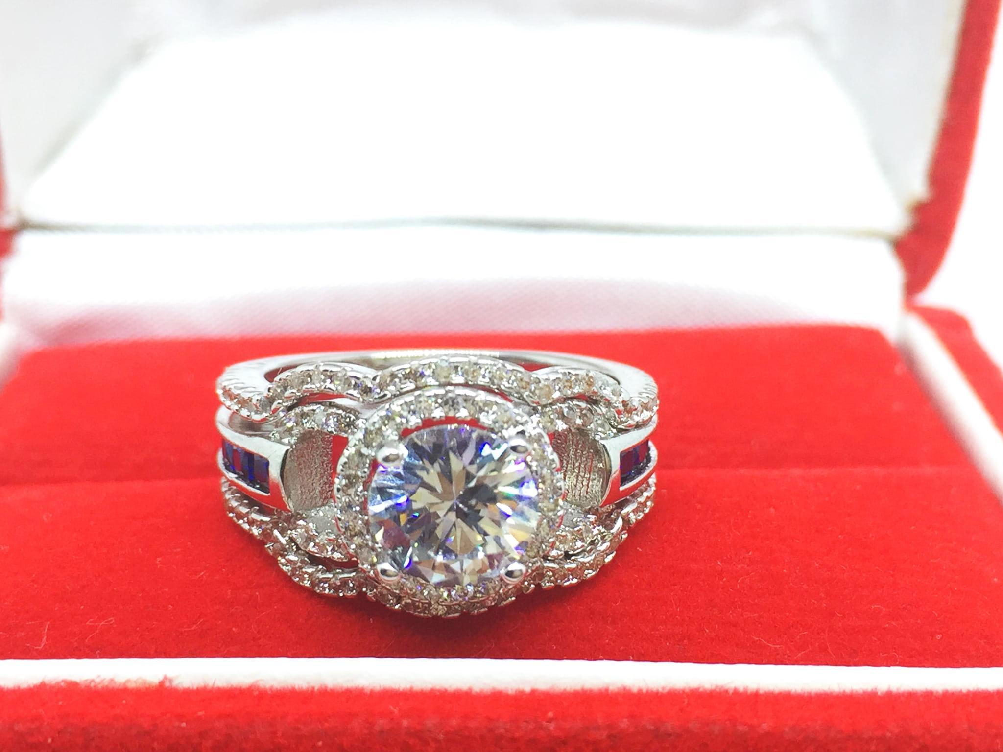 NEW Promo Perhiasan Set Cincin 3 pcs Lapis Emas Putih Berlian Batu Biru Samping BR157 Murah