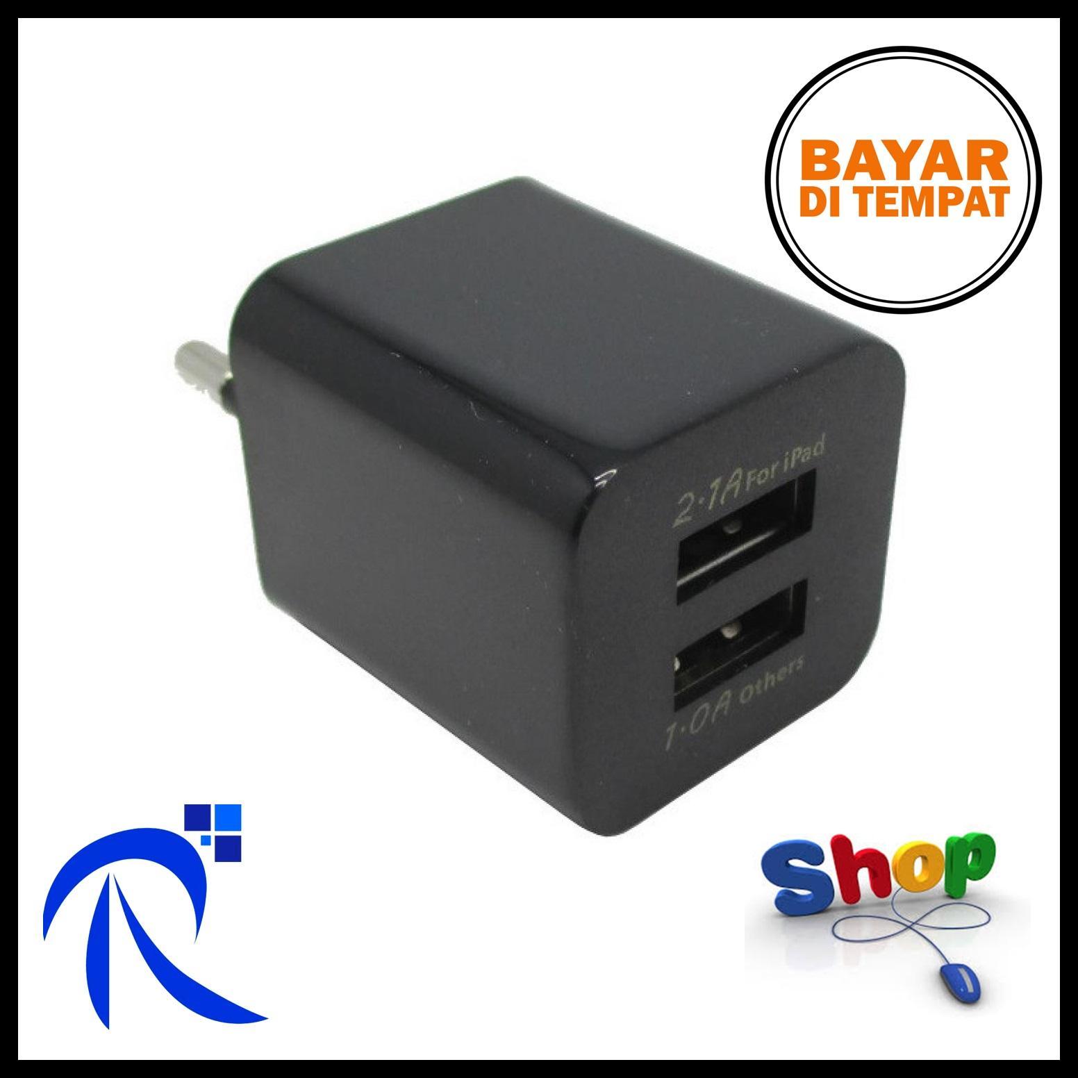 Rimas USB Charger 2 Port EU Plug - JBL1309 - White Putih / Black Hitam - Kepala Adapter Adaptor Cas