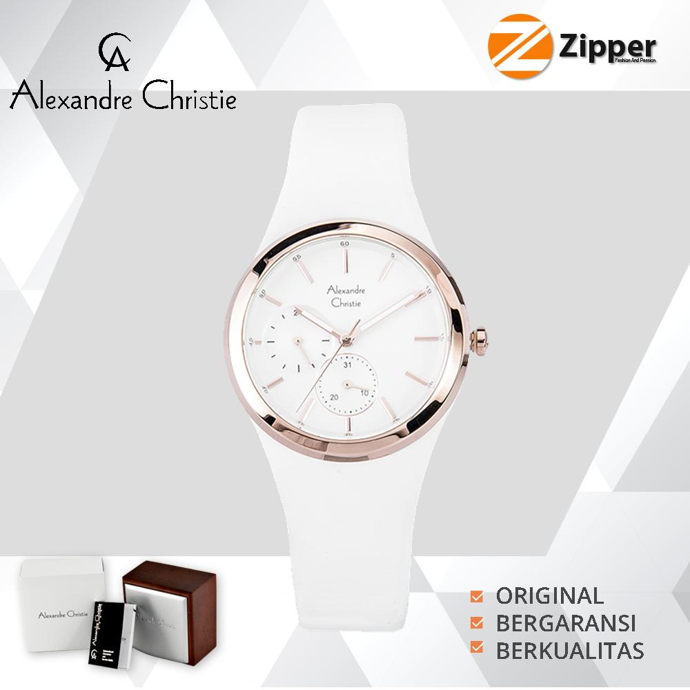 Jam Tangan Alexandre Christie Lazada Ac 6442 Mc Black White Wanita Tali Karet Quatz Movement 2663 Series