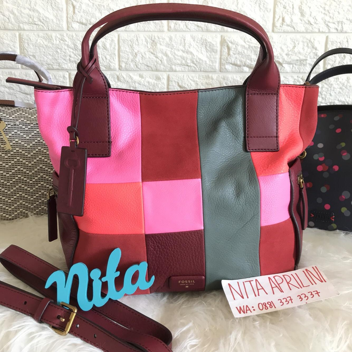Fossil Passport East West Satchel Blue Floral Zb 6762452 Daftar Rachel Tote Red Multi 6818995 Tas Emerson Bright Patchwork Pw Size Large Original Asli Authentic Leather Kulit