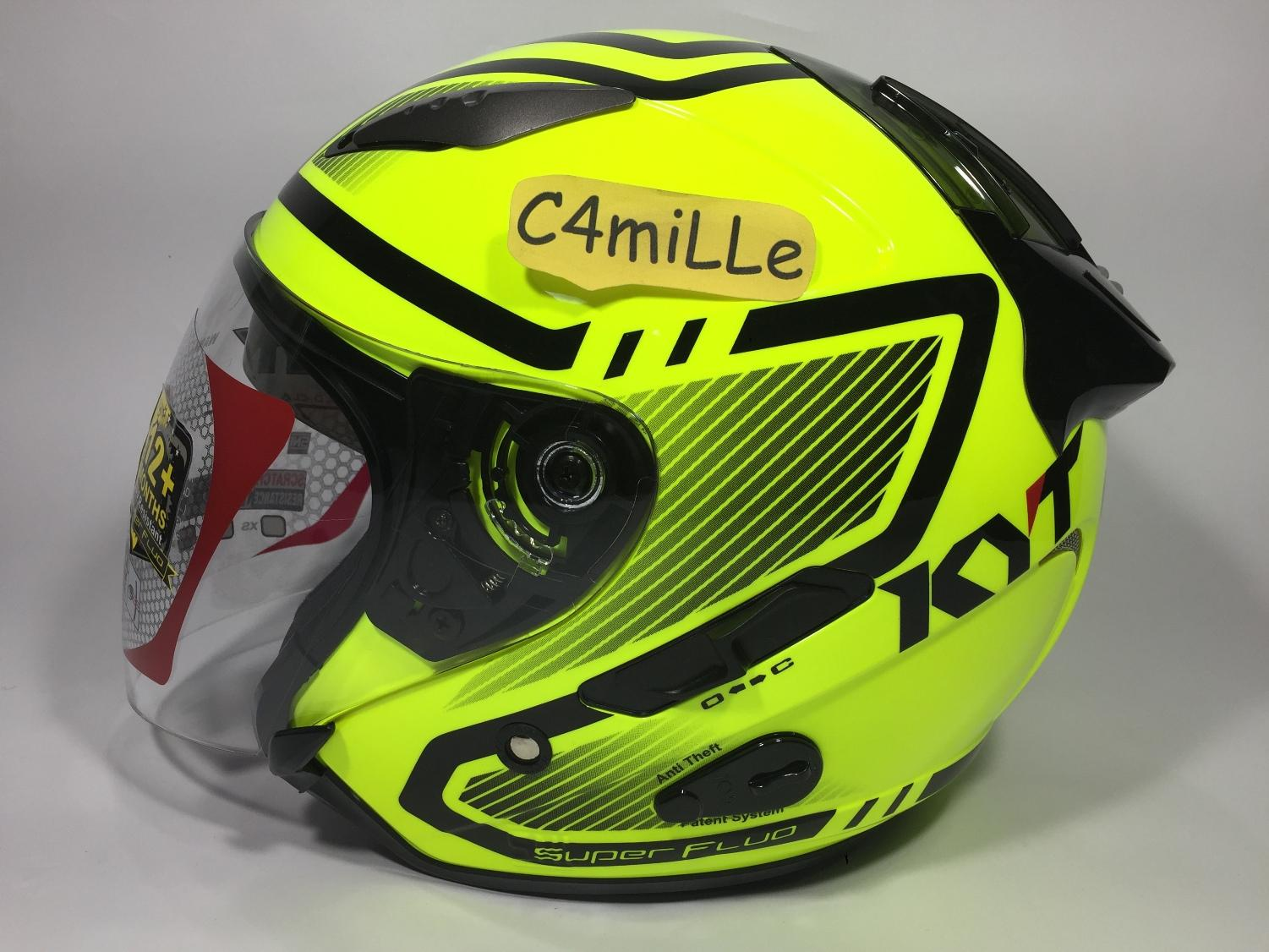 HELM KYT GALAXY SUPER FLUO ED #1 YELLOW FLUO BLACK DOUBLE VISOR HALF FACE