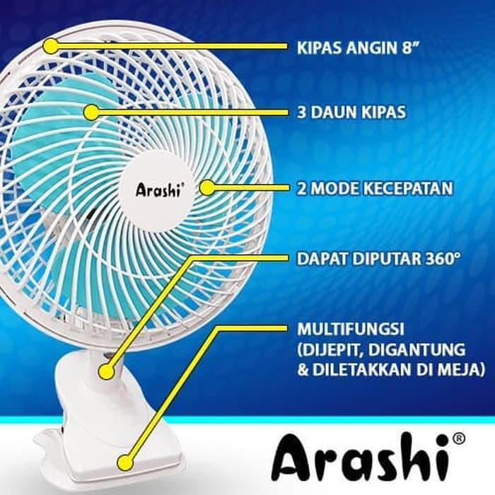 CV. Teknologi Tepat Guna - Kipas angin Jepit Arashi 8 Inchi