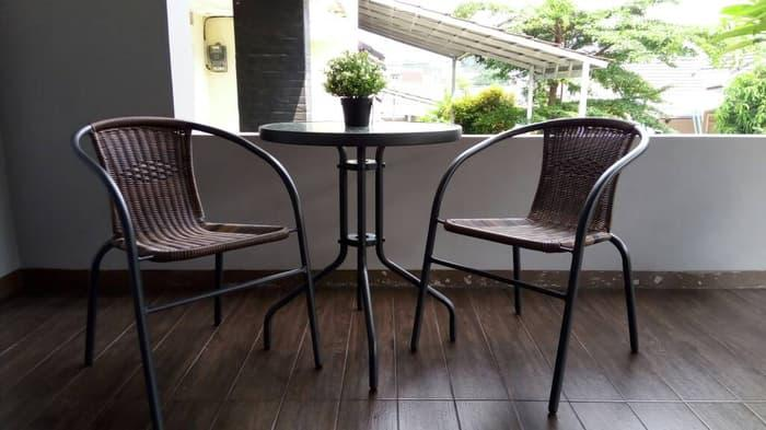 Promo  SALE !! 2 Kursi Set Meja Kaca Informa Indoor Outdoor  Original