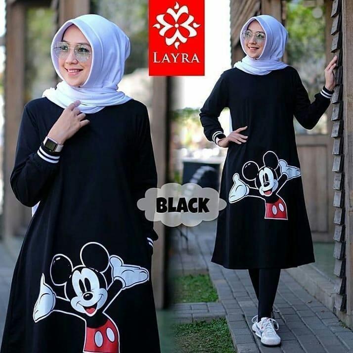 Original Baju Muslim Mickey Tunik Kaos Kombed Atasan Baju Wanita Muslim  Fashion Cewek Kekinian Pakaian Trendy 4f6398a920