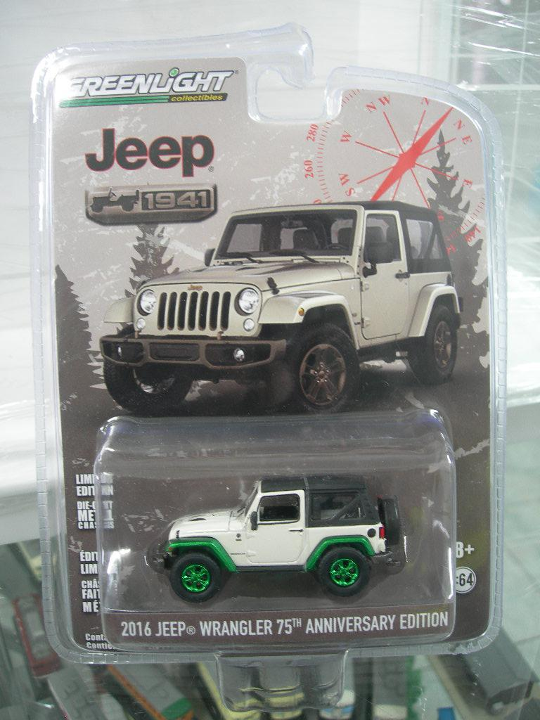 Gansatoy greenlight 1:64 2016 jeep wrangler white 75th aniversary gnz 751
