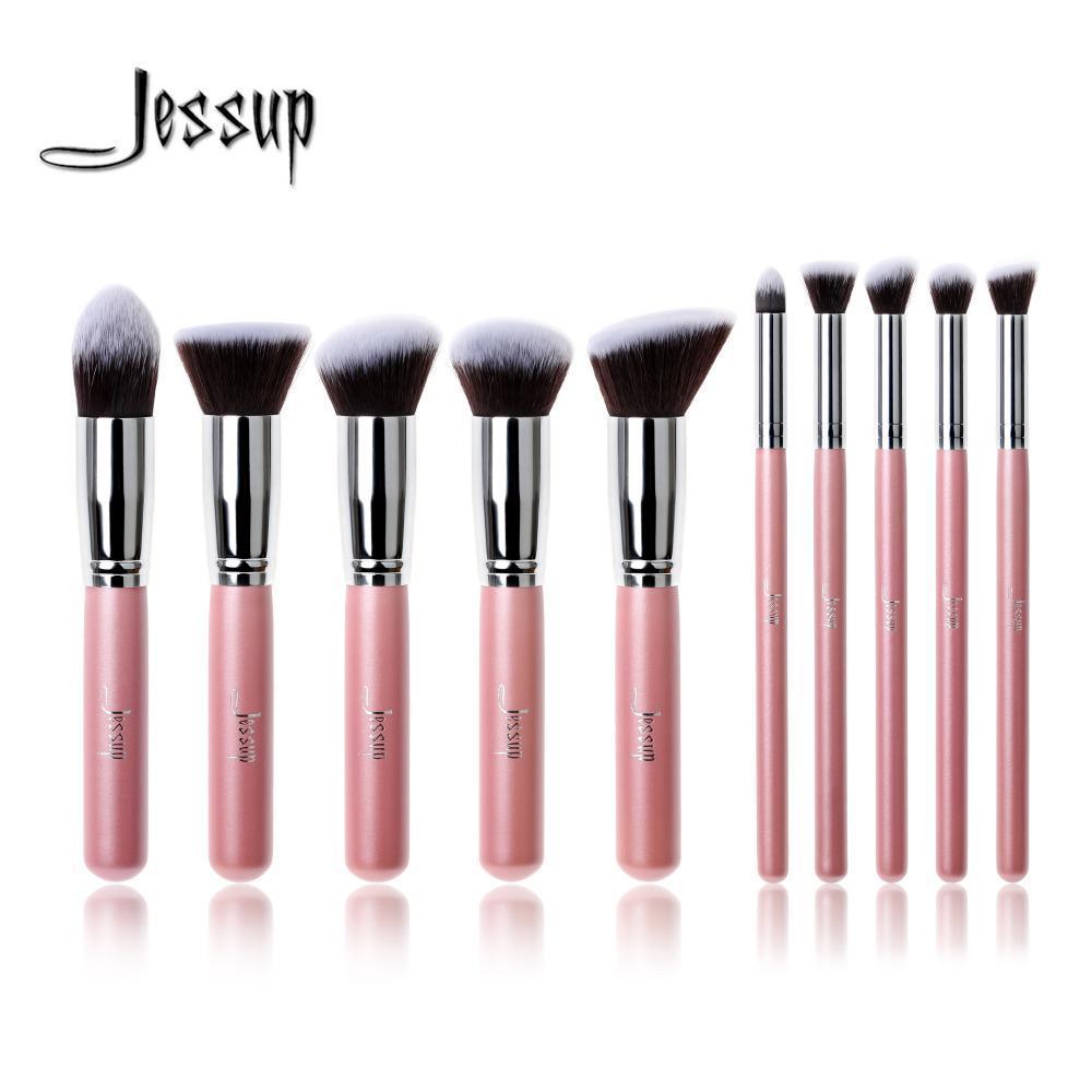 Zzooi Profesional 10 Pcs Pink/Perak Merek Jessup Kuas Rias Set Kecantikan Foundation Sikat Kabuki