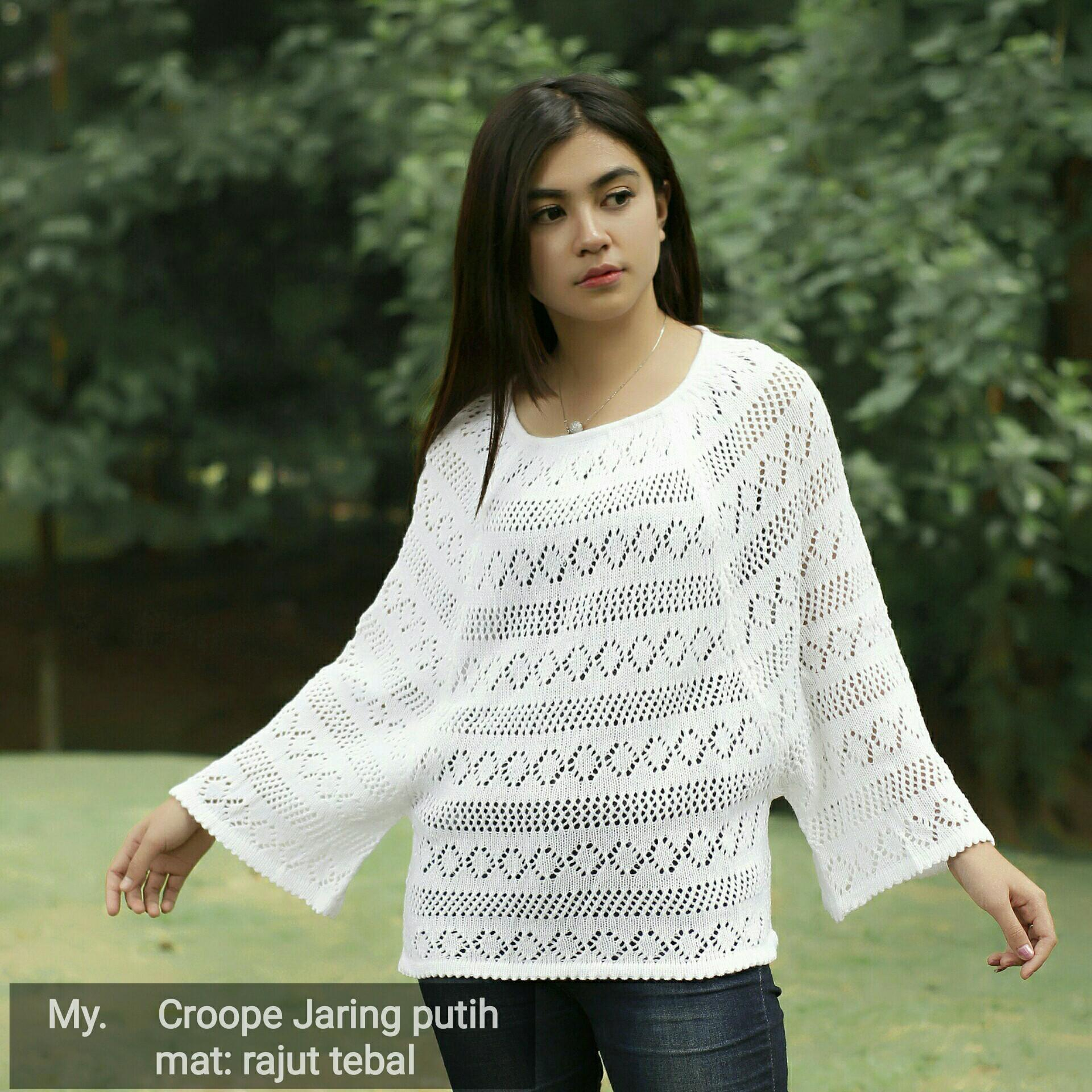 Sweater Crop / Rajut Jaring Crop / Sweater Rajut Wanita / Baju rajut / Sweaer Crop
