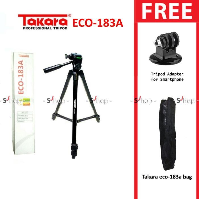 Takara Tripod ECO-183A with Tripod Adapter + Pouch/Tas untuk Gopro, SJ4000, SJ5000, Xiaomi Yi - Hitam