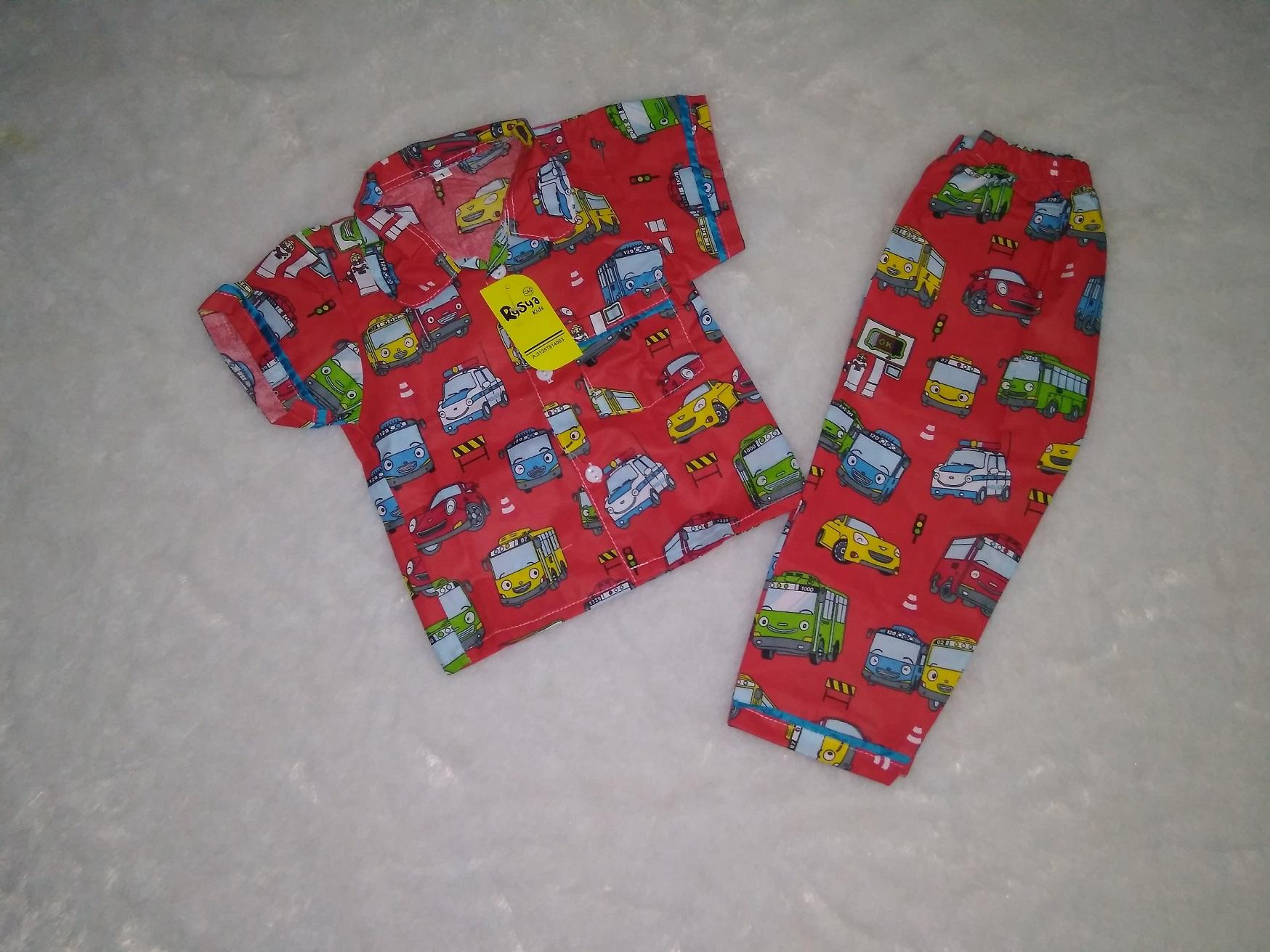 Piyama Anak Karakter Tayo Merah Baju Tidur Katun Rysya Size 1 Pajamas Usia 0 - 1 tahun
