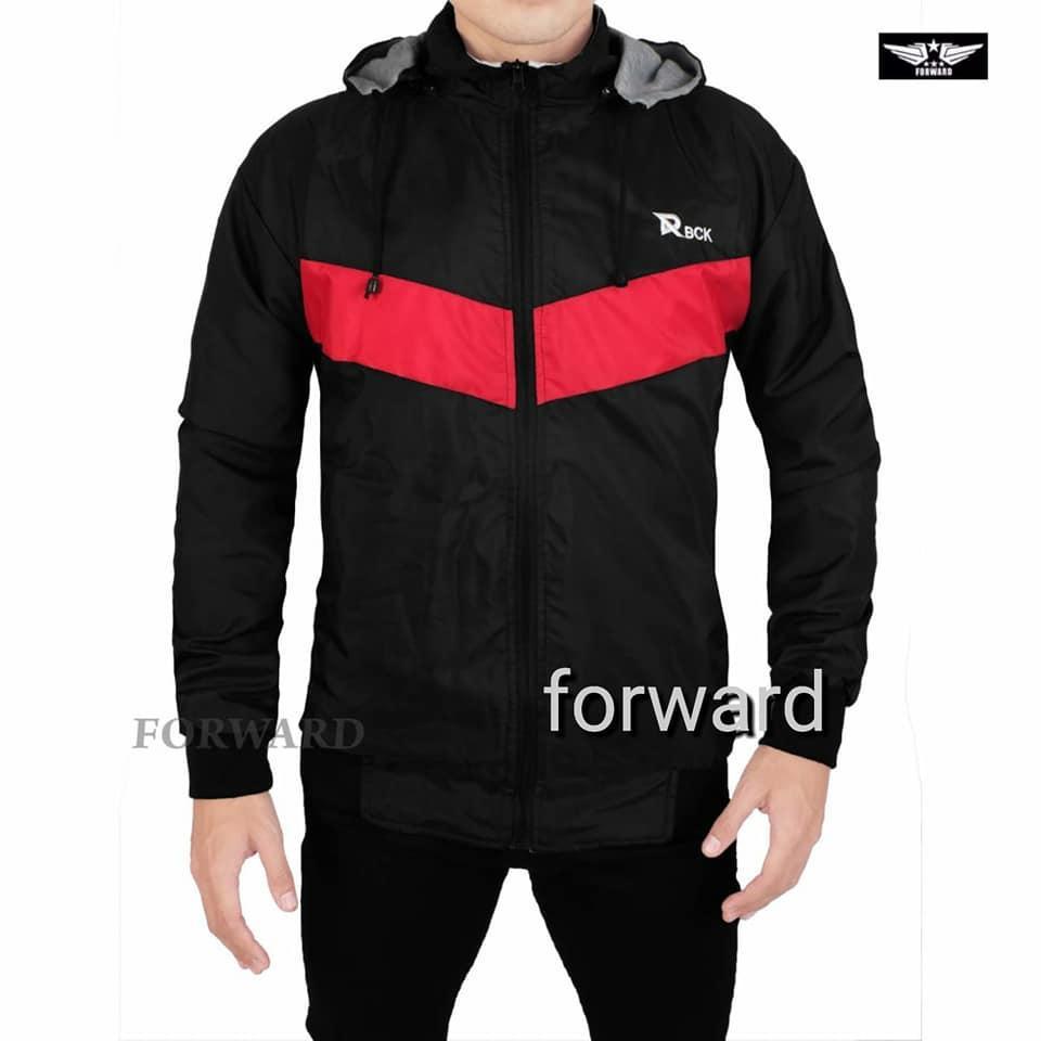Jaket parasut pria bolak balik  - red black