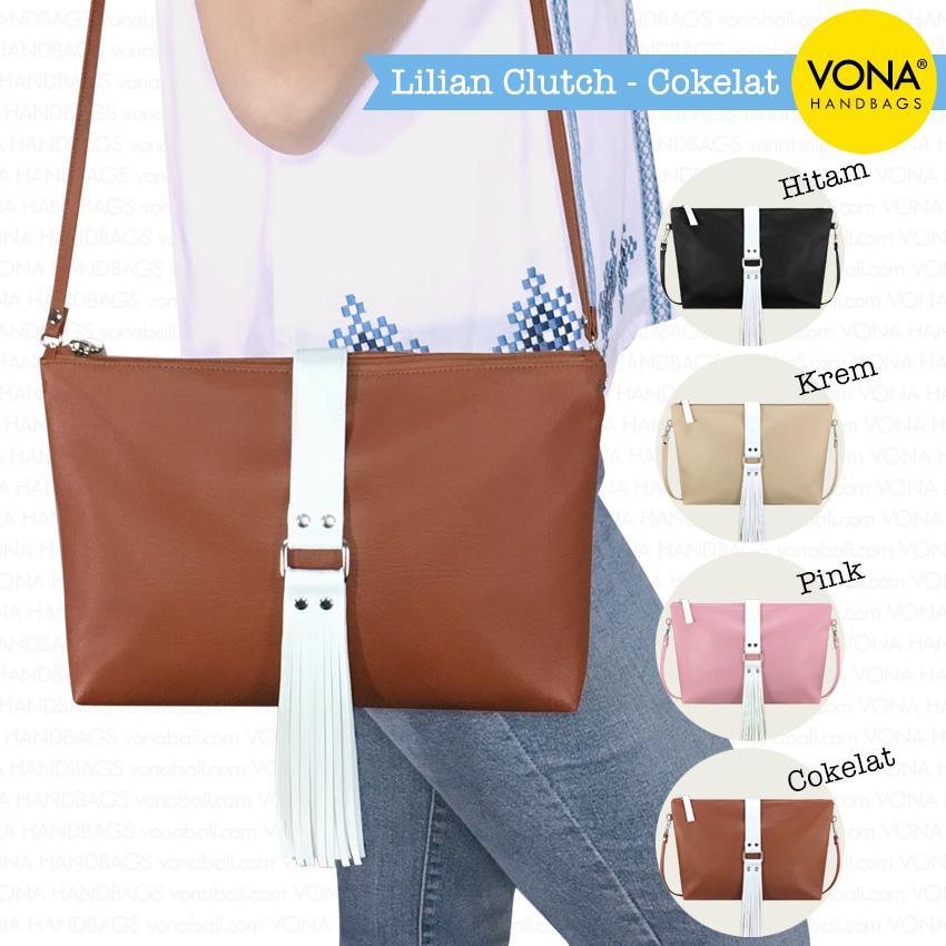 VONA Lilian (Cokelat) - New Arrival Tas Bahu Selempang Clutch Crossbody Tassel Rumbai Shoulder Bag Wanita Kulit Sintetis Best Seller Tote Slempang Korean Style Fashion