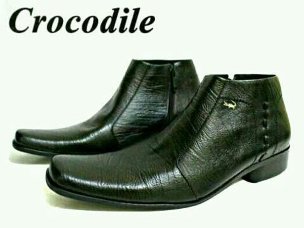 Promo Sepatu Pantofel Crocodile Kulit Asli Boots Slop Zipper Hitam (Kerja Kantor Pria Lapangan Pabrik) #Lacoste#Bally#Kickers#Nike#Pantopel#Slip On Fashion