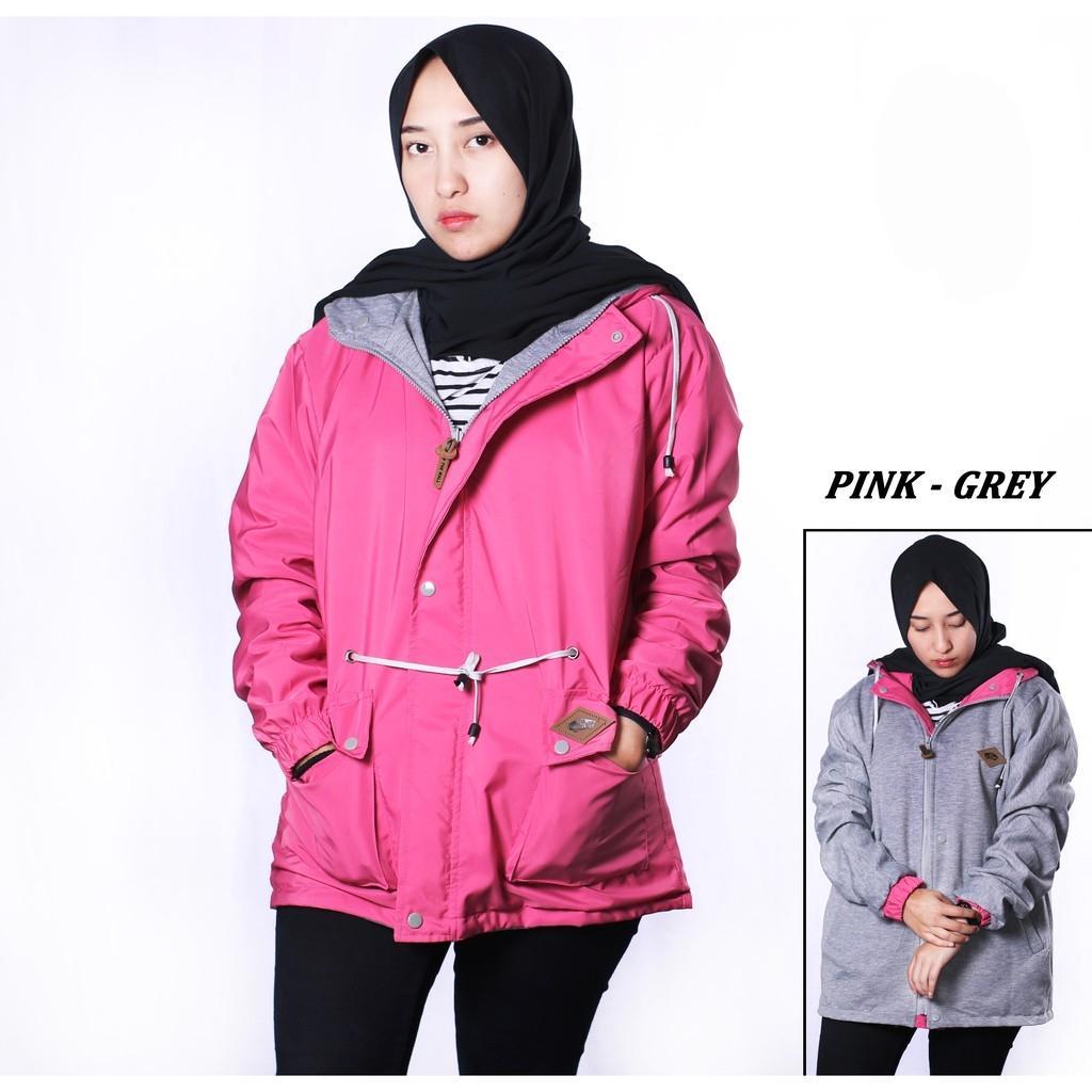 Jaket Parasut Bolak Balik Hoodie Wanita - Black Pink