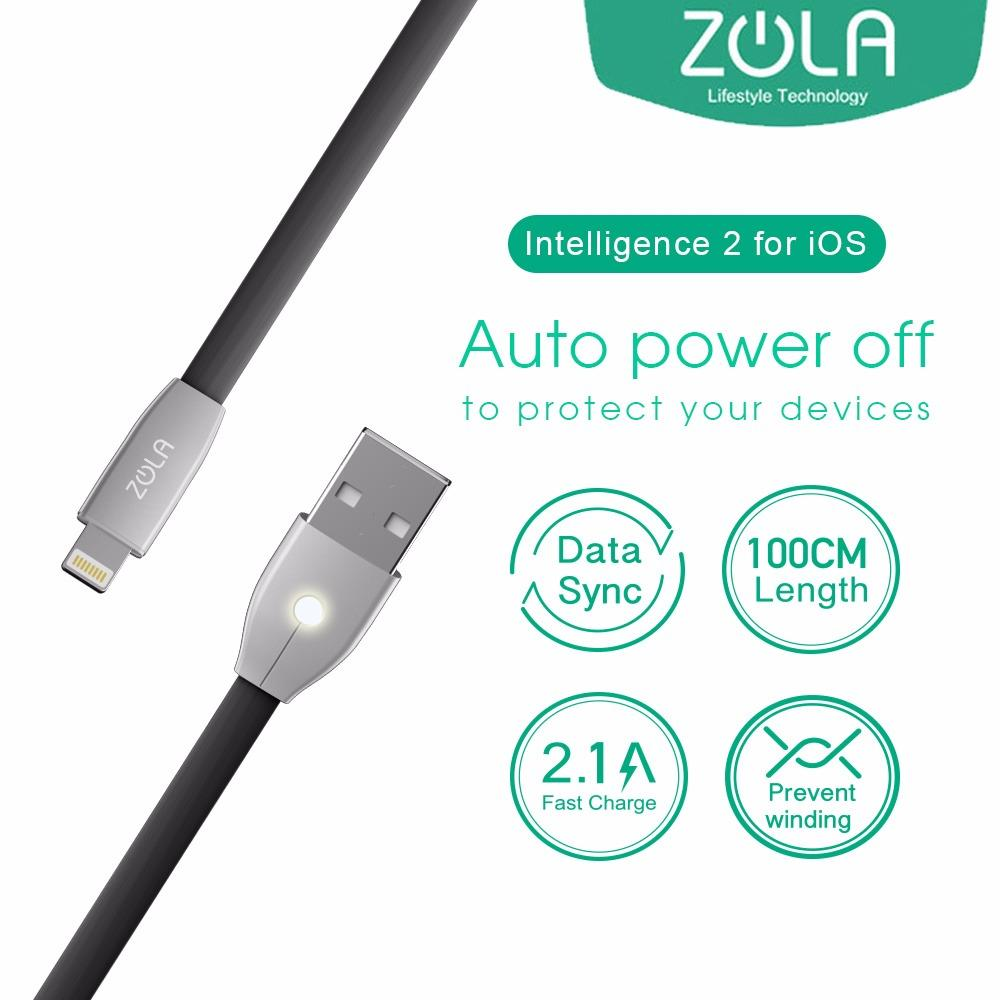 Kabel Data iPhone Lightning ZOLA Intelligence 2 Auto Power OFF 100cm Fast Data Sync & Charging 2.1A - Dark Grey