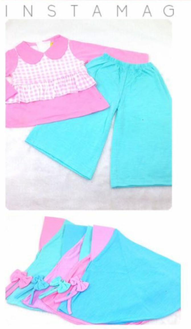 Setelan Kulot Muslim Anak Perempuan 1 - 2 tahun Stelan kulot  panjang La Petite Baju Muslim Anak Bayi Cewek