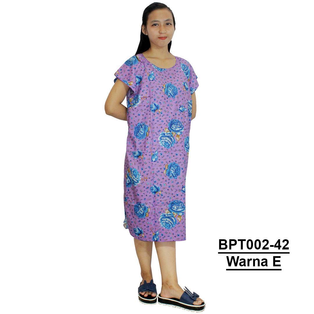 Dress Santai, Midi, Atasan Batik - Motif Bunga - (BPT002-42) Batik Alhadi