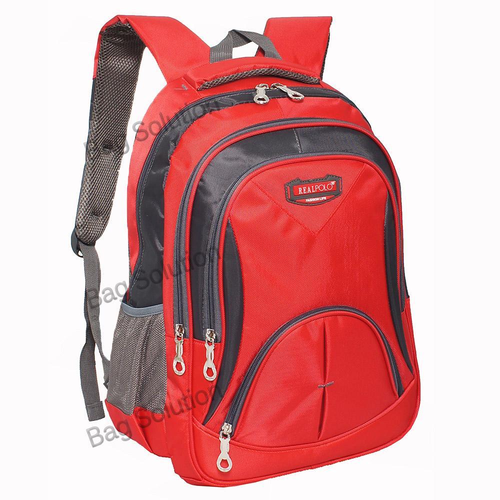 Real Polo Tas Ransel Kasual - Tas Pria Tas Wanita FCFI Backpack Daypack - Merah