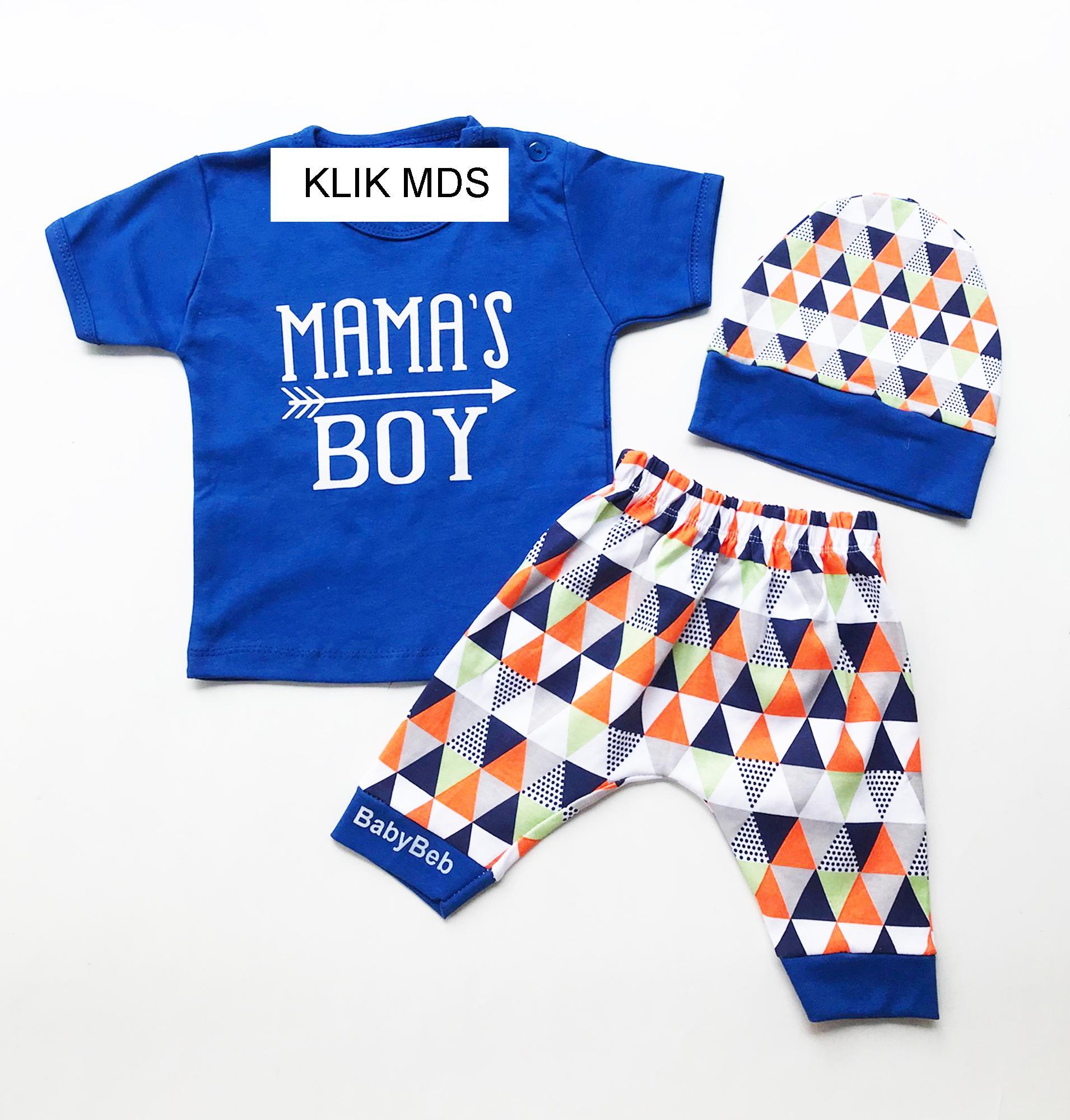 Pakaian Bayi Laki Baju Karakter Klik Mds Anak Setelan Atasan Dan Celana Motif Mamas Boy Free Topi