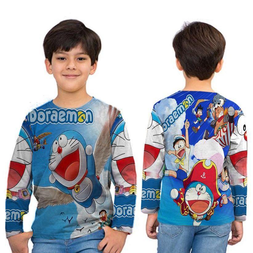 Kaos T-Shirt Anak Unisex Lengan panjang Fullprint Custom New Design Doraemon