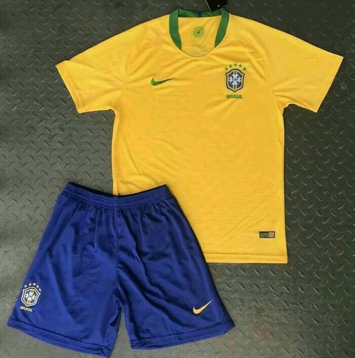 SETELAN Baju Anak / Jersey Anak / Baju Bola Anak / Kids BRAZIL HOME NEW-GRADE A / Piala Dunia 2018