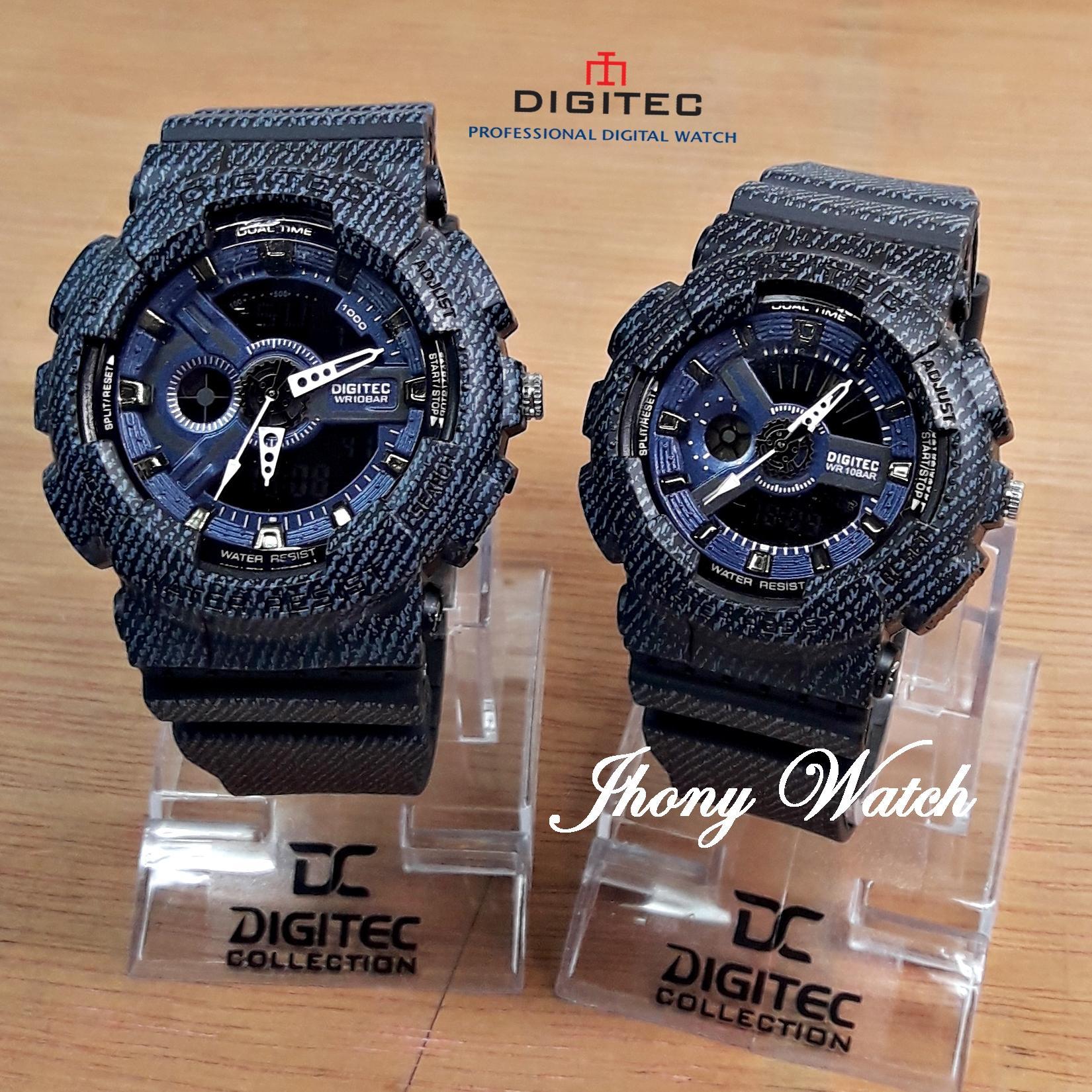 Digitec Dg2011 Dg2066 Jam Tangan Couple Dual Time Rubber Strap Sport Original Black Grey Denim Dualtime