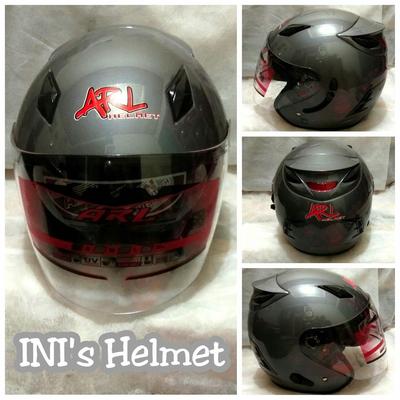 Double Visor Helmet Abu-abu Polos/Helm Keren Anti Silau