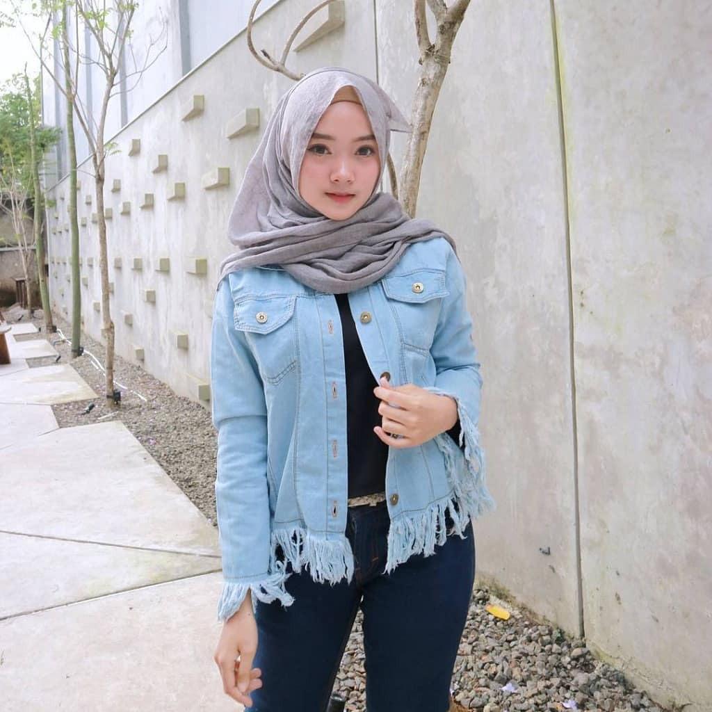 Jaket Jeans Denim Springe Balotelly Hijab Casual Pakaian Muslim Wanita Muslim Modern Terbaru Termurah 2018