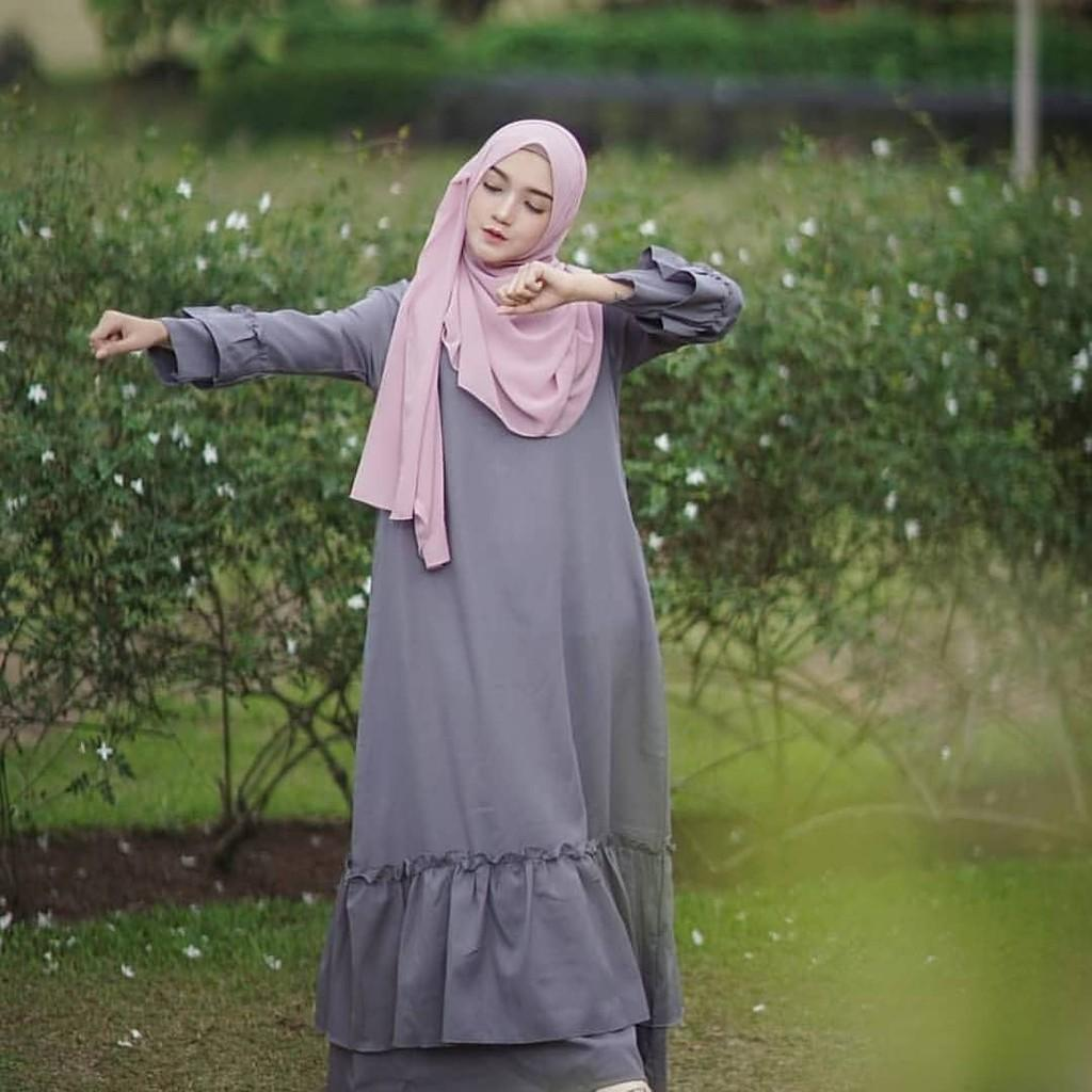 JAKARTA GROSIR -  resti dress grey vg.f Fashion Dress / Atasan / Tunik / size M, L dan XL