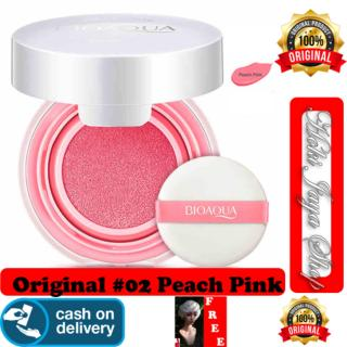 HOKI COD - 02 PEACH PINK - BioAqua Blush On Air Cushion - Smooth Muscle Flawless - Perona Pipi + Gratis Shower Cap Putih - Premium thumbnail