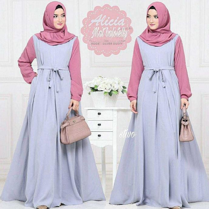 Terpopular Alicia Dres /Grosir Baju Atasan Gamis Murah Wanita /Gamis Bandung   Baju Lebaran Muslim