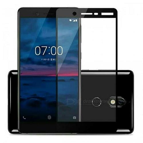 Tempered Glass Warna Anti Gores Kaca Screen Protector Full Cover Layar Nokia 7+ Plus Warna Hitam - Packing Mica