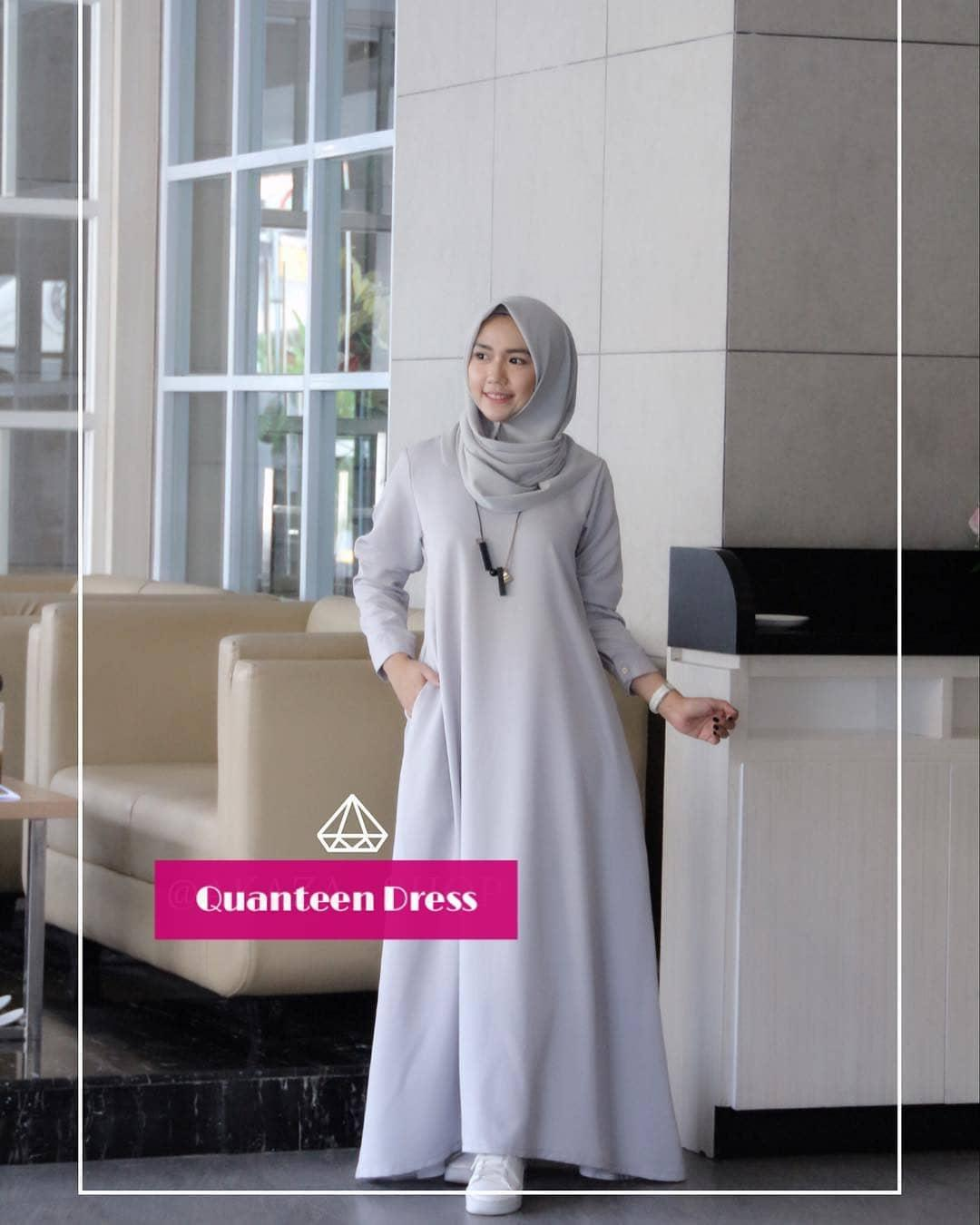 Busana Wanita Muslim Model mal QUANTEEN DRESS bahan balotely dengan Zipper BUSUI Trendy Simple Modis dan Elegant