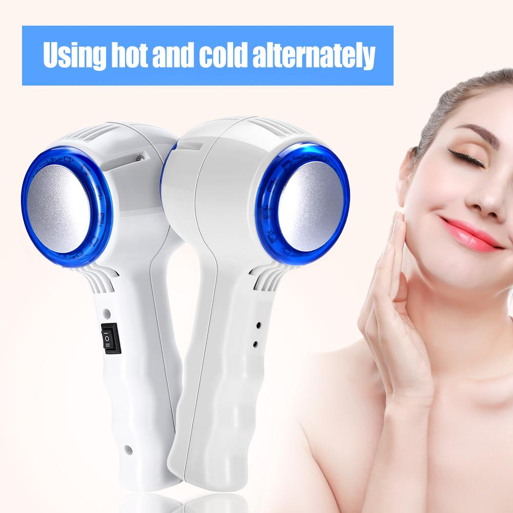 【Hadiah gratis】Hot & Cold Hammer Face Lift Anti Aging Massager Blue Photon Therapy Beauty Machine US Plug