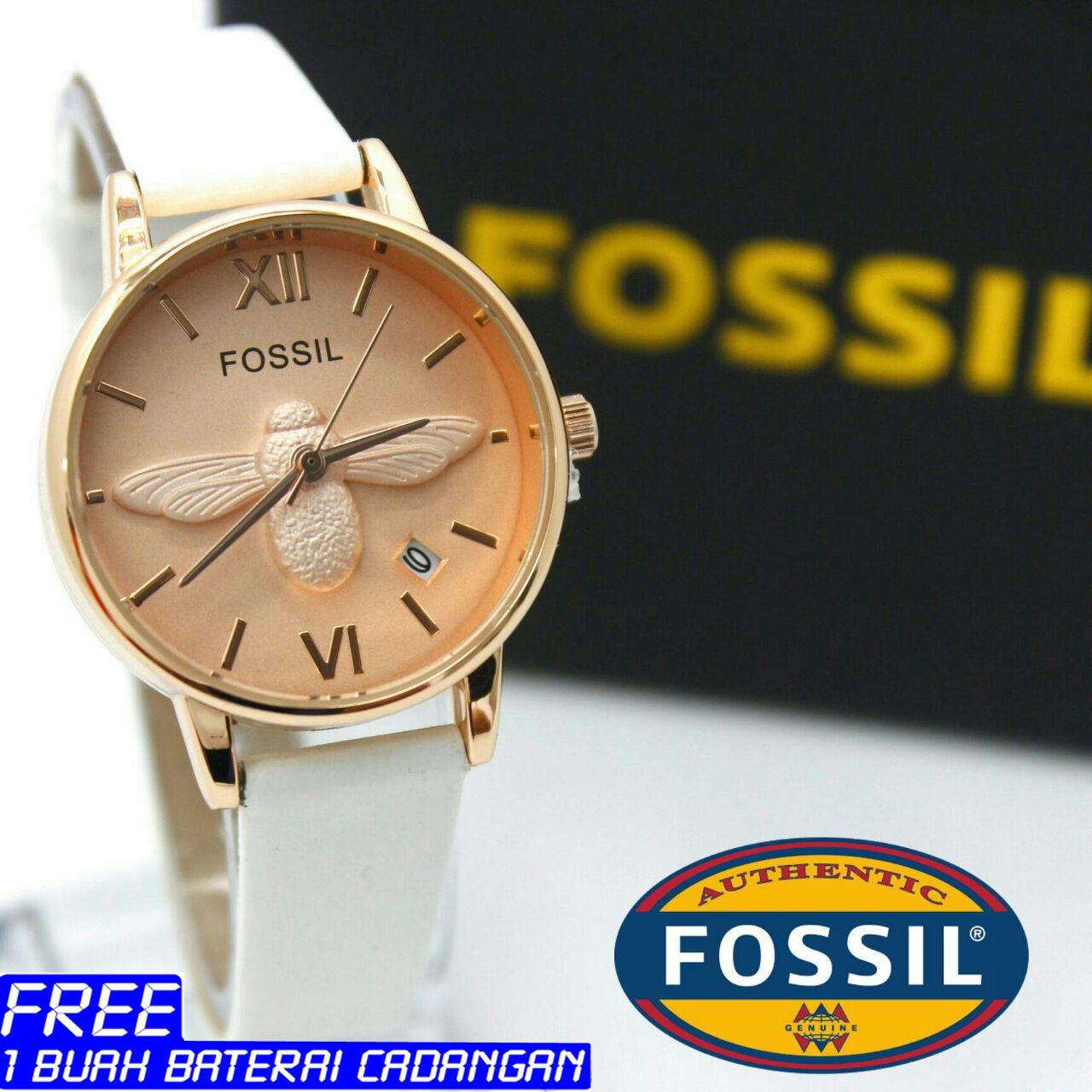 Fossil Am4522 Cecile Multifunction Jam Tangan Wanita Black Am4632 Original Karet Analog Time Model Kumbang