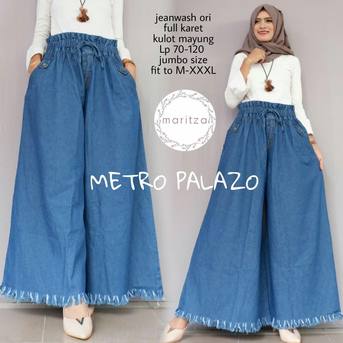 Metro Palazo - Kulot Jeans Jumbo - Celana Jumbo - Bawahan Ukuran Besar  Wanita a52cab53b0