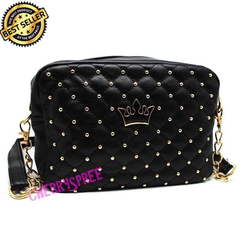 Tas Impor Studded Crown Korean Fashion Woman Bag  Tas Bahu Selempang Wanita Mahkota Cocok Remaja Dewasa Import Quality Premium Tali Rantai - Hitam